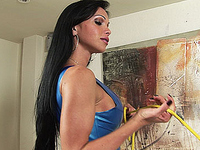 Latex clad shemale Carla in action , blowjob and ass