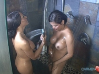 Carmen Moore Naughty Carmen Moore taking a shower with Mia Isabella