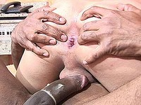 Blonde shemale rides black cock