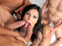 Bruna Butterfly gangbang - Watch the beautiful Bruna Butterfly get fucked in her first ganbang!