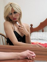 Sex starved blonde transvestite gets kinky while primping herself