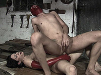 Shemale dominates a submissive slave
