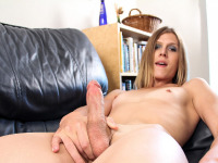 Beautiful blonde tgirl Casey Lay has a little bit of fun on the couch stroking her hard tgirl cock for your enjoyment.