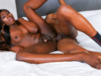 Today Black TGirls Hardcore presents the gorgeous Nubian Barbie and she's taking this cock for a wild anal ride. Watch this one of a kind goddess as she enjoys sucking and fucking that thick piece of meat before taking a mouthful of creamy cum.