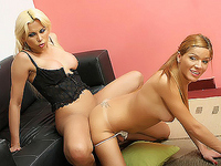 Cock greedy Melina resorts to sucking off and fucking another lovely tranny named Yeina