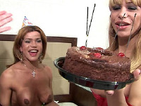 Shemale babe licks cake off tranny ass - Carla Bruna, Carla Tavares, Dartilly Richilliely, Thays Schiavinato
