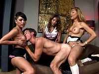 Johanna B.,Jamie Page : Lucky teacher is happy to be attacked by 3 shemales in heat!