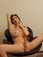 TS Mariana Cordoba plays with her massive erect shecock