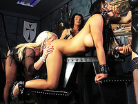Chained Sunshyne fucked in a 4some