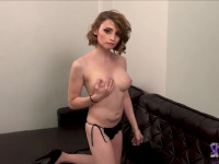 Hot seductive Rita takes off her black dress and jacks off on the couch