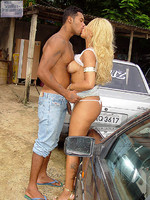 Rodrigo cant get enough of Domy and just has to take a good look at her. She gets out of her car and begins to excite our stud. Unable to hold back his desires, Rodrigo passionately embraces Domy as she fondles his hard cock. Hot Brazilian hardcore action