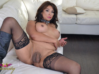 Vaniity gets down and dirty and plays with her hung dick and tight ass