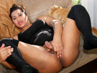 Ruby is a hot and horny Latina who was eager to take a spin on the couch. She doesn't speak a word of English so it was a bit difficult to communicate but she does speak the international language of dick sucking!