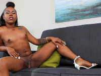 Pretty tgirl Tiyara is back and she looks great! Tiyara is a  hot black tgirl with a superb booty that goes well with her submissive side! Enjoy her long legs and round ass in this sexy scene!