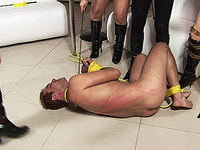 Tied slave gets more than he bargained for