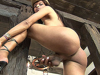 Hung tgirl shoots a huge messy load