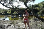 TS Mariana Cordoba Naked and rubbing her Big Cock by the river