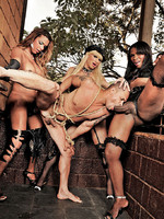 Watch as Kamilly Santos, Perla Lohan and Thayla Oliveira all use their bound slave for their pleasure. This guy gets fed cock, spanked, fucked and drenched in hot jizz.