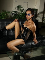 Exotic transsexual Lee toying in hot leather corset