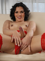 Sexy Gaby in red hot sexy ligerie exposes her nice huge throbbing package