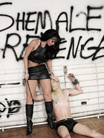 Shemale domme carla and her hooded slave