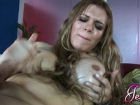 Irresistible transsexual Jesse having fun with a dildo