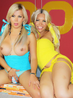 Naomi Chi - Two Blonde Trannies playing with each others tools