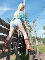 Blonde Tranny Goddess Ana Mancini stripping in the Countryside