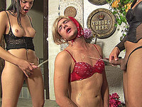 Bound and humiliated by two freaky shemales
