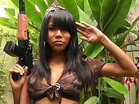 Seductive tranny in military outfits proves her sex fighter skills
