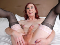 Sexy redhead Jean Jezebel made her debut two weeks ago. Today, this hottie discovered by Radius Dark returns for more! Looking hot in her sexy lingerie, Jean can't wait to have some fun for the camera! Watch her stroking her cock just for you until she cums!