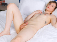 Gorgeous Aeva Rhone is a kinky tgirl with an all natural body and some interesting ink. This pretty Grooby girl had a lot of fun while filming and we join her for a hot masturbation scene as she jacks off until she climaxes.