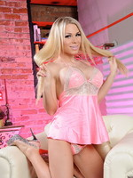 Ashley George Busty blonde Ashley strips & plays