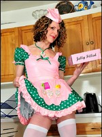 Darling donut girl Delia in sissy frills and pink panties.