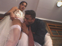 Thaina - Mischievous shemale bride and her horny groom enjoying anal wedding sex