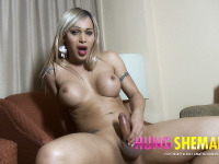 Hung Blonde Shemale is Full of Cum