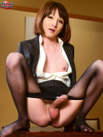 Office Antics with Mari Sora! - We love Mari Sora! There's just something about a little petite and dainty doll with such a big thick piece of newhalf meat in her panties that really tightens the trousers! In her third exclusive, Mari turns up the temperature in her slutty business