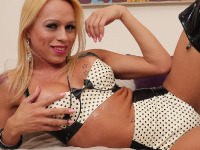 Shakira Voguel : Today we have sexy blonde Shakira Voguel joining us for some solo fun. Watch this beauty go at it when there's no dick around. It's all good, she definitely knows how to satisfy herself just fine. This blonde bombshell is no stranger to the camera. Let's get right to the action in this Trans at Play update. Enjoy!