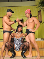 Flavia Lins Tranny Flavia threesome with kinky muscle dudes Jr. Carioca and Rick until they cum on each other