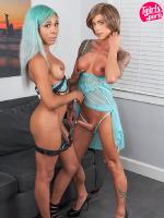 BEACH BUNNIES Nina Lawless & Mara Nova turn up the heat to absolute boiling point in this storming girl on girl feature brought to us by Mr Radius Dark! Seasoned Grooby Girl Nina pounding the ass off of up and cumming TS starlet Mara is a sizzling pro