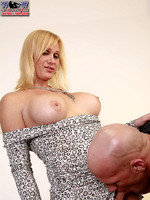 Barbie: Big-titted blonde English shemale in fuck session.