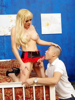 Horny TS Jesse giving a blowjob lesson to a stud