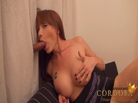 TS Mariana Cordoba sucks a big cock in this classic Glory Hole video