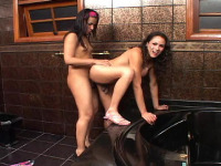 Monique & Suzy - Lascivious shemales getting down and dirty right on the floor in rest-room