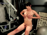 Naughty Nina toying in the gym