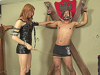 Adriana punishes her slave in her dungeon