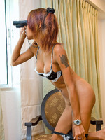 Horny tranny playing strip game with her spyglass