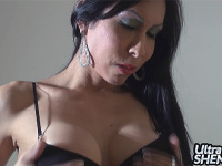 Ultra Shemales - A Dark haired Latina Tranny masturbating until she cums hard
