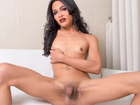 This raven haired hottie is a very naughty one. She loves playing with her boobs and spreads her long legs wide to show her ass for a hot solo. This cowgirl will drive you nuts. Watch Benz as she plays with her hard cock and explodes a load of cum.