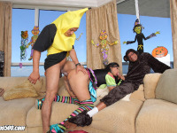 A special FIRST THREESOME Halloween scene with the sexy Vaniity, Ramon and Casrto Supreme!
